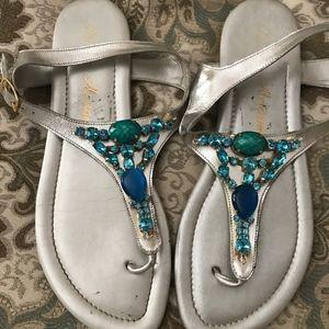 Athena Alexander beaded sandal, silver, 10